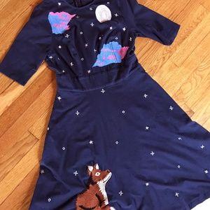 Navy eShakti Size 8/10 Fox Applique Dress